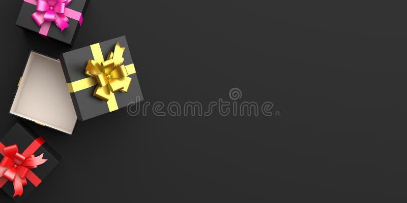 Presentbox med guld, rosa, rött band i studion, text i kopieringsutrymmet, platt lägg Utformning av kreativt koncept för svarta h vektor illustrationer