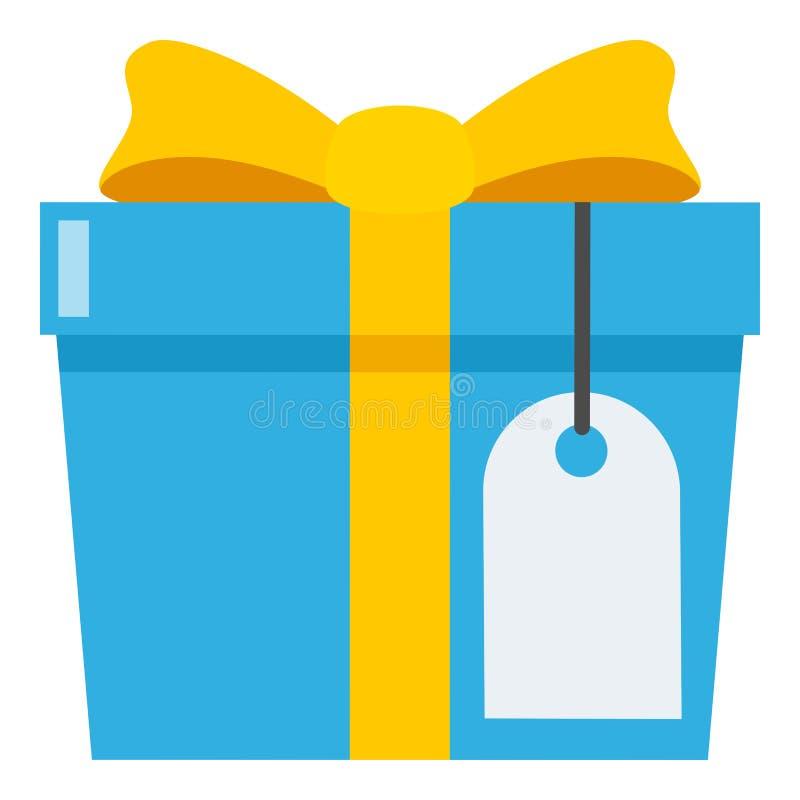 Presente azul com ícone liso da etiqueta vazia no branco ilustração royalty free