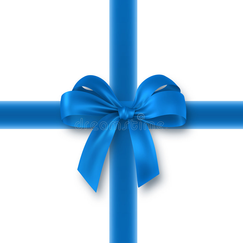 Presente azul, fita, curva ilustração stock