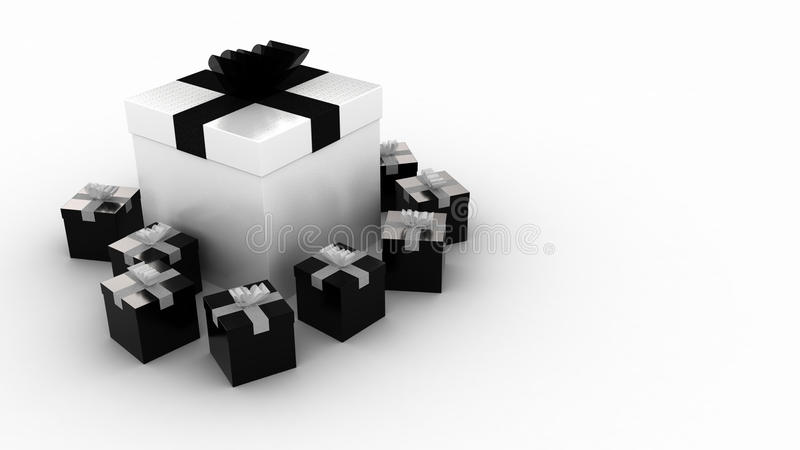 Presente in bianco e nero illustrazione vettoriale