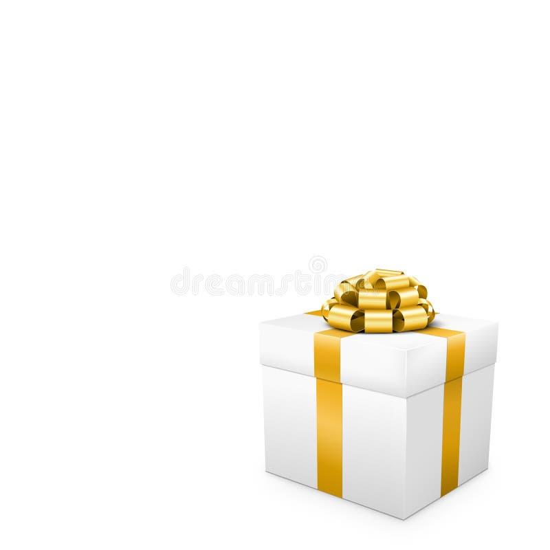 Presente branco com a fita dourada no formato quadrado ilustração royalty free