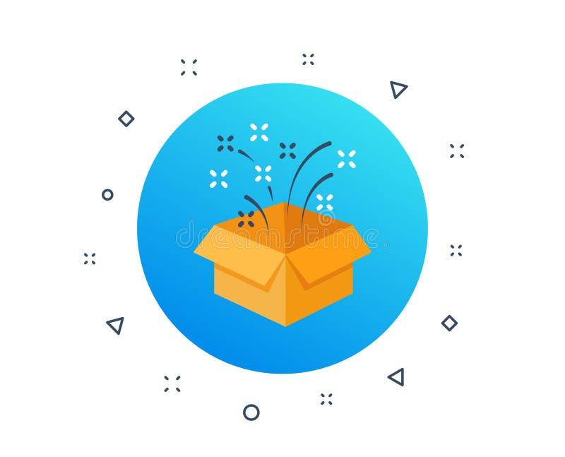 Presente, caja de regalo amarilla de la sorpresa Icono de la celebraci?n del cumplea?os Paquete de la recompensa del programa de  ilustración del vector