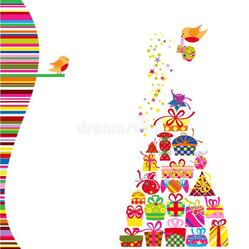 Presente colorido de la tarjeta de felicitación de la Navidad ilustración del vector