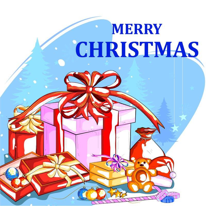 Presente colorido para a celebração do feriado do Feliz Natal ilustração stock