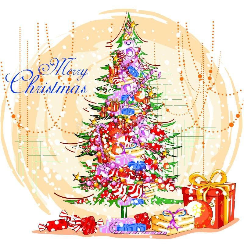 Presente colorido para a celebração do feriado do Feliz Natal ilustração do vetor