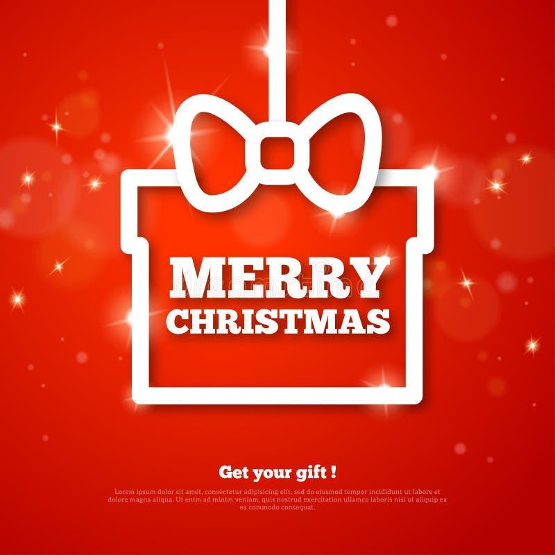Presente com cumprimentos do Feliz Natal Frame creativo ilustração stock