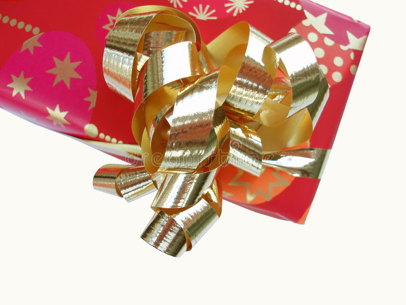 Presente com faixa dourada imagens de stock royalty free