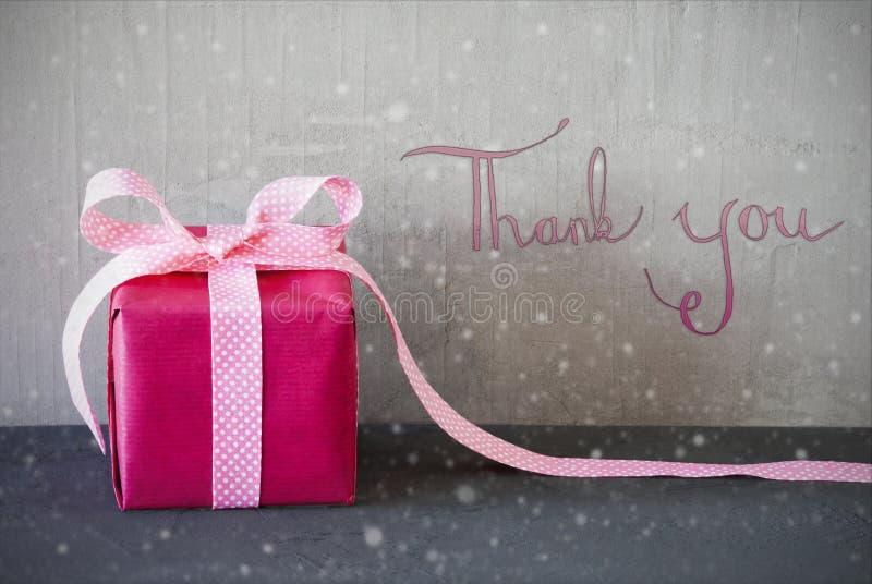 Presente cor-de-rosa, caligrafia, flocos de neve, obrigado foto de stock royalty free