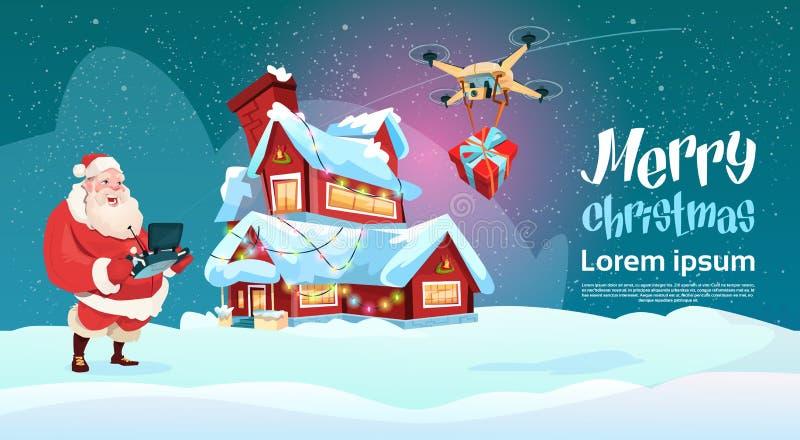 Presente da entrega de Santa Claus Hold Remove Controller Drone, feriado do Natal do ano novo ilustração royalty free