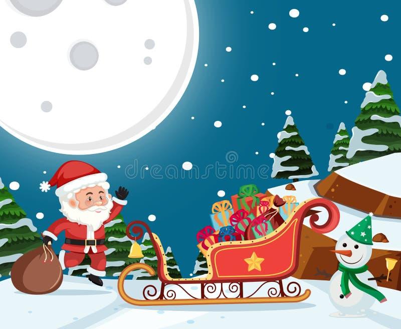 Presente da entrega de Santa na noite ilustração stock