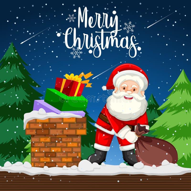 Presente da entrega de Santa na noite ilustração royalty free