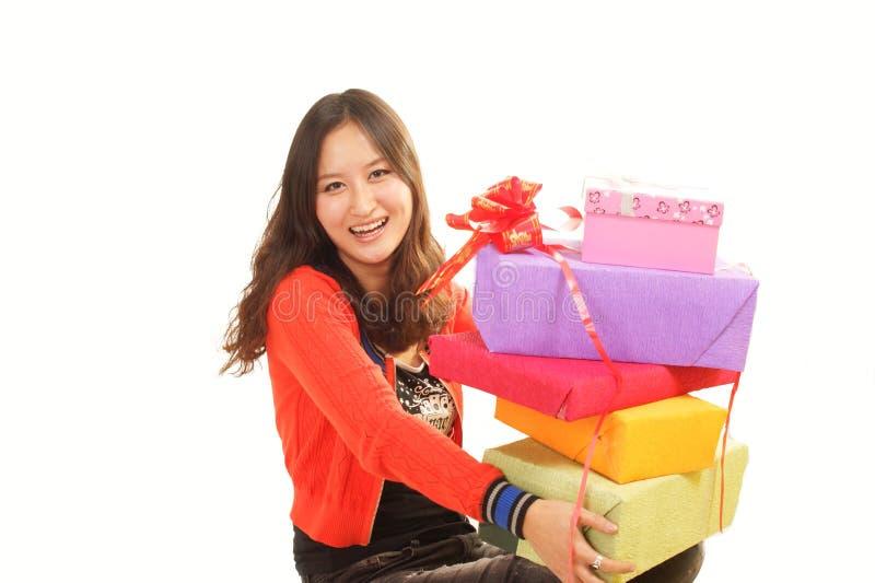 Presente das meninas imagens de stock royalty free