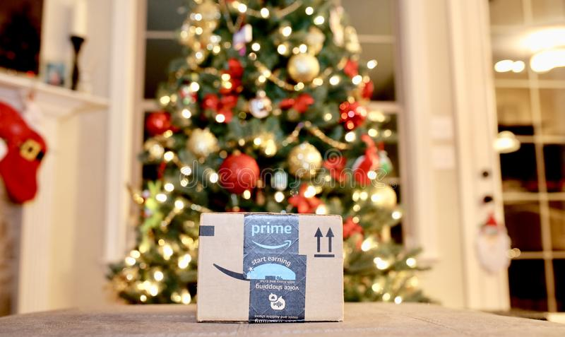 Presente de época natalícia principal do Natal das Amazonas imagem de stock