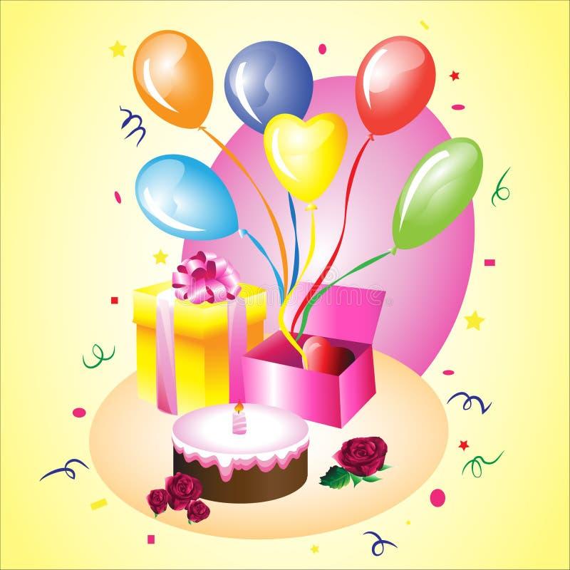 Presente de aniversário com um bolo fotografia de stock