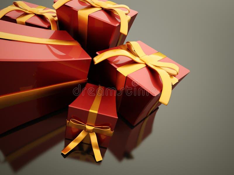 Presente de Natal com fita ilustração do vetor