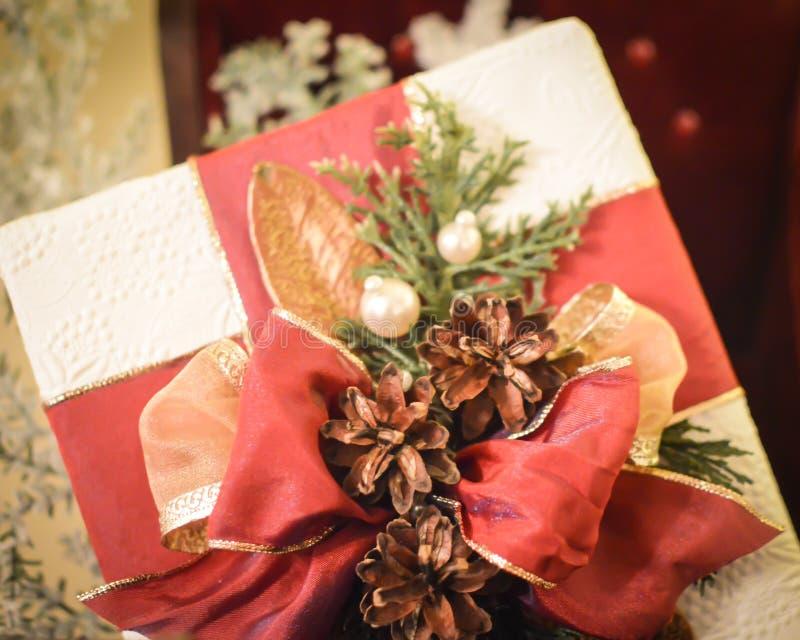Presente de Natal com fitas vermelhas e Pinecones imagens de stock royalty free