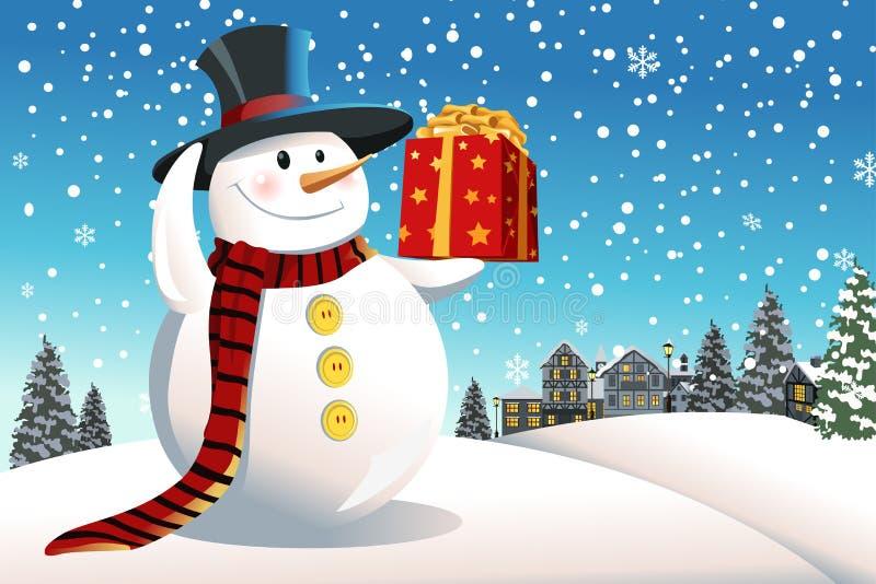 Presente de Natal da terra arrendada do boneco de neve ilustração do vetor