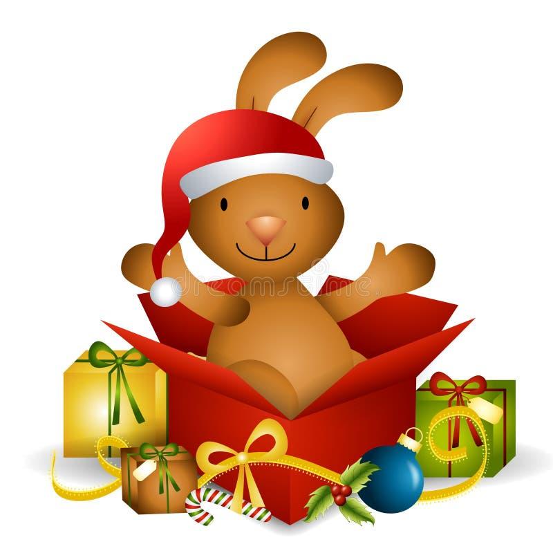 Presente de Natal do coelho ilustração stock