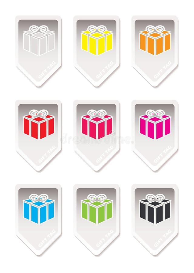 Presente de papel del regalo de la etiqueta stock de ilustración