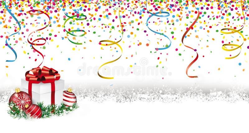 Presente de Silvester Confetti Snow Christmas Baubles ilustração stock