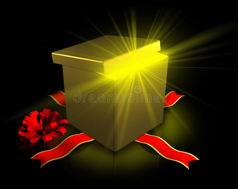 Presente de uma caixa aberta do ouro com uma curva ilustração royalty free