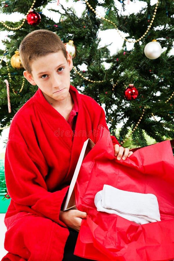 Presente decepcionante do Natal fotografia de stock