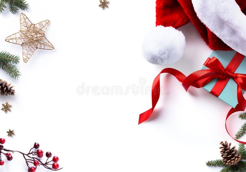 Presente, decorações e feriados do Natal doces foto de stock