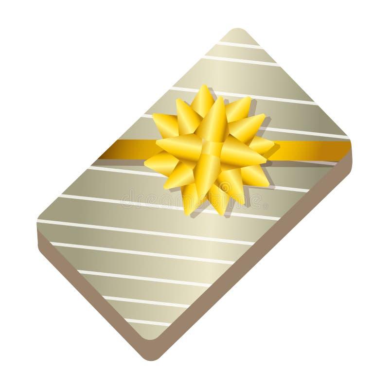 Presente del contenitore di regalo con il nastro dorato illustrazione di stock