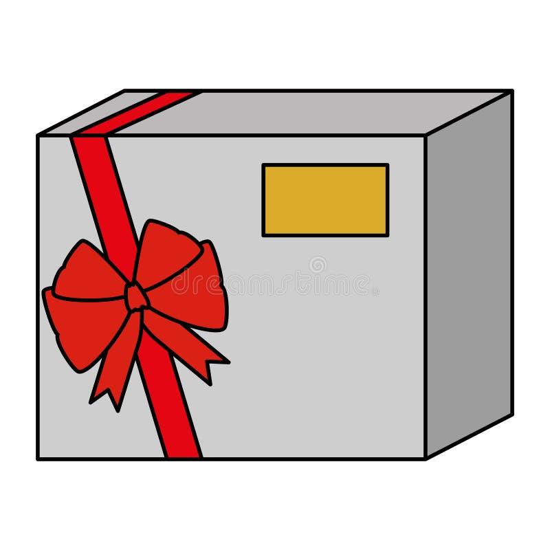 Presente del contenitore di regalo con il nastro rosso illustrazione di stock