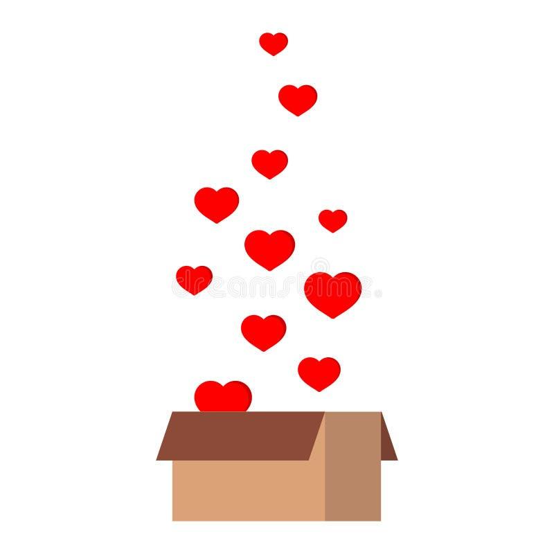 Presente del contenitore di regalo della carta del pacchetto del pacchetto di Ift con i cuori della mosca isolati su fondo bianco royalty illustrazione gratis