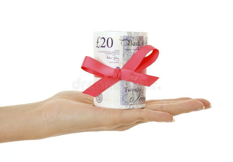 Presente do dinheiro no sterling imagem de stock