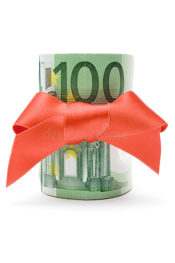 Presente do euro 100 foto de stock