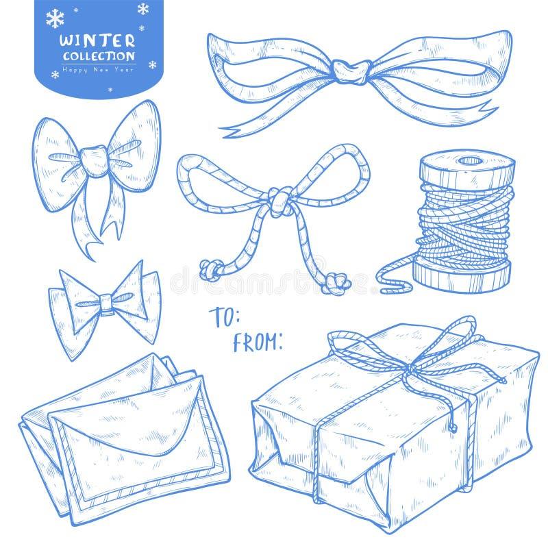 Presente do grupo do inverno do Natal, curva, fitas, letras, guita ilustração stock