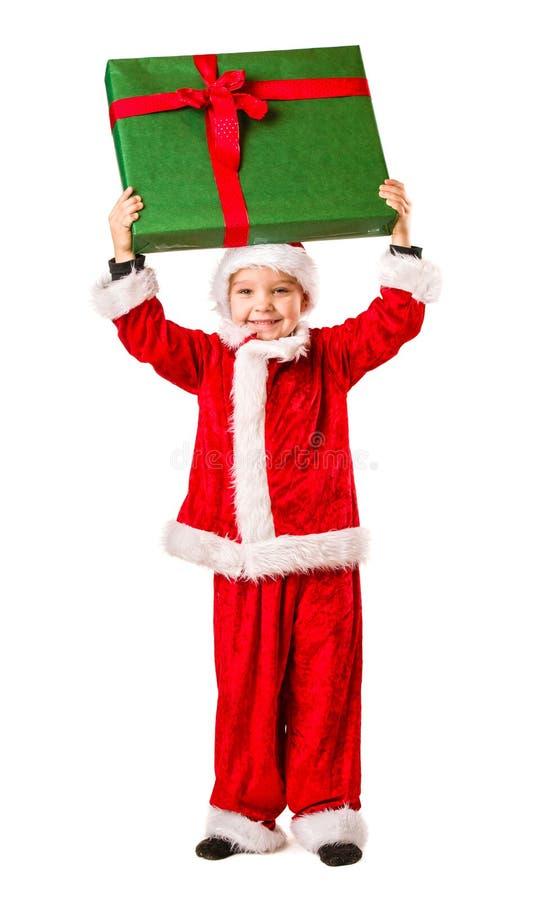 Presente do menino e do Natal foto de stock