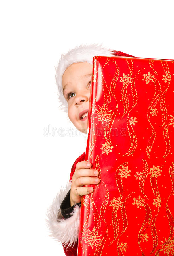 Presente do menino e do Natal imagem de stock