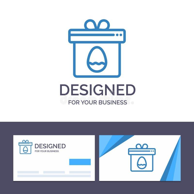Presente do molde criativo do cartão e do logotipo, caixa, ovo, ilustração do vetor da Páscoa ilustração stock