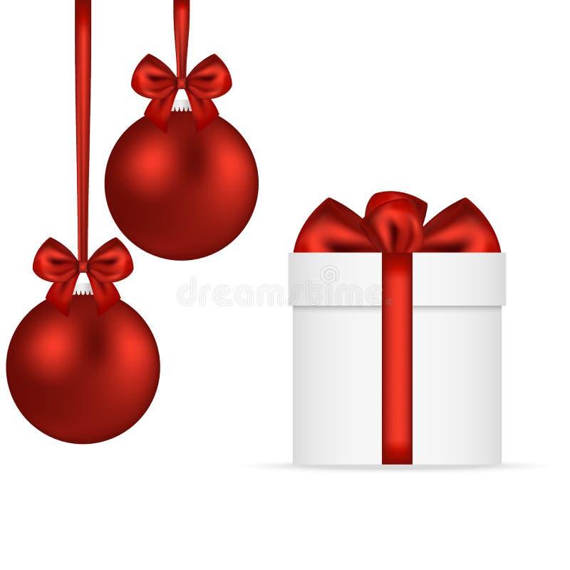 Presente do Natal com as bolas vermelhas do Natal nas curvas ilustração royalty free