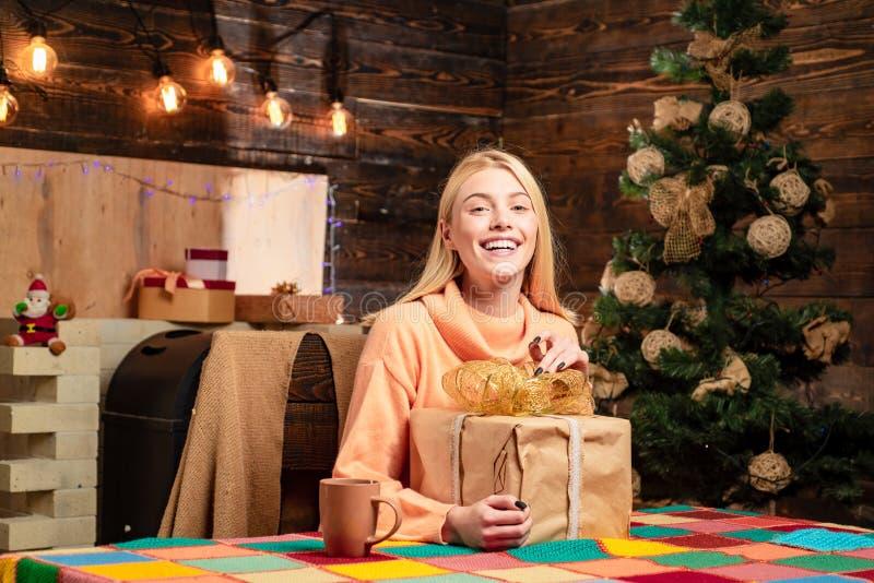 Presente do Natal Feliz Natal e ano novo feliz Presente do ano novo Menina sensual para o Natal A árvore de Natal decora fotografia de stock royalty free