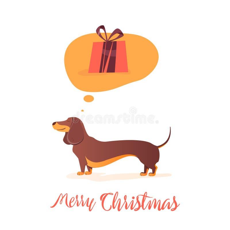 Presente do Natal O cão pensa sobre a ilustração do presente para os feriados Cão vermelho feliz com os presentes do símbolo de 2 ilustração do vetor