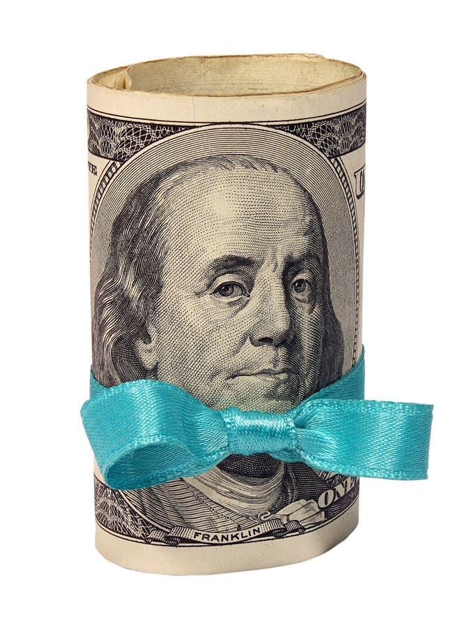 Presente do rolo dos dólares com fita azul imagens de stock