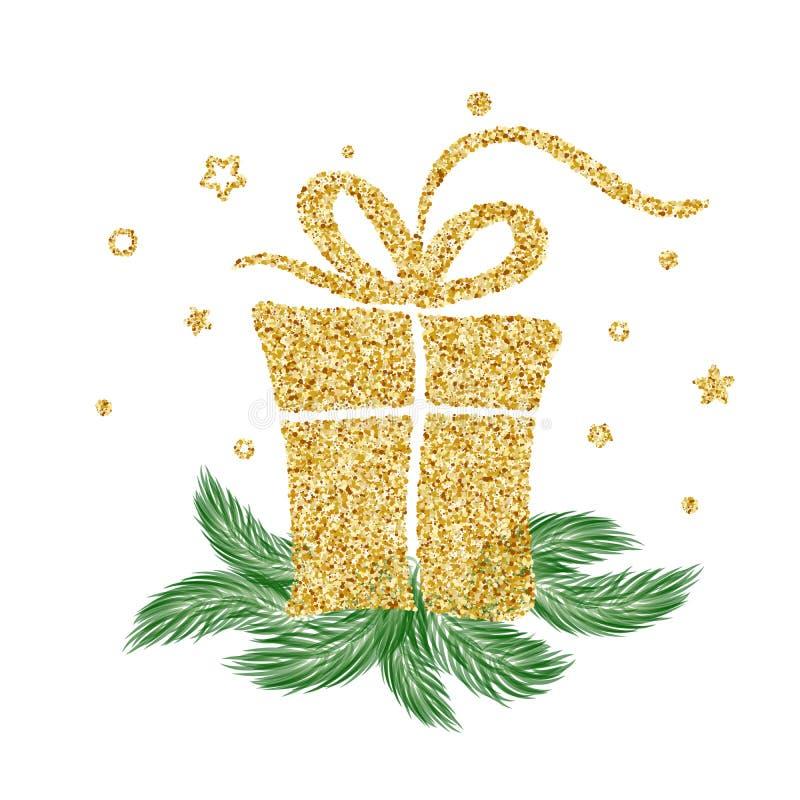 Presente do vetor do vintage do ouro por feriados do Natal Para a página da lista do projeto do molde da arte, estilo do folheto  ilustração stock