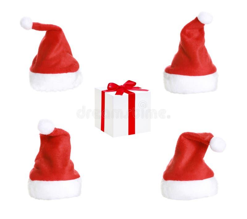Presente dos chapéus do Natal e do Natal foto de stock royalty free
