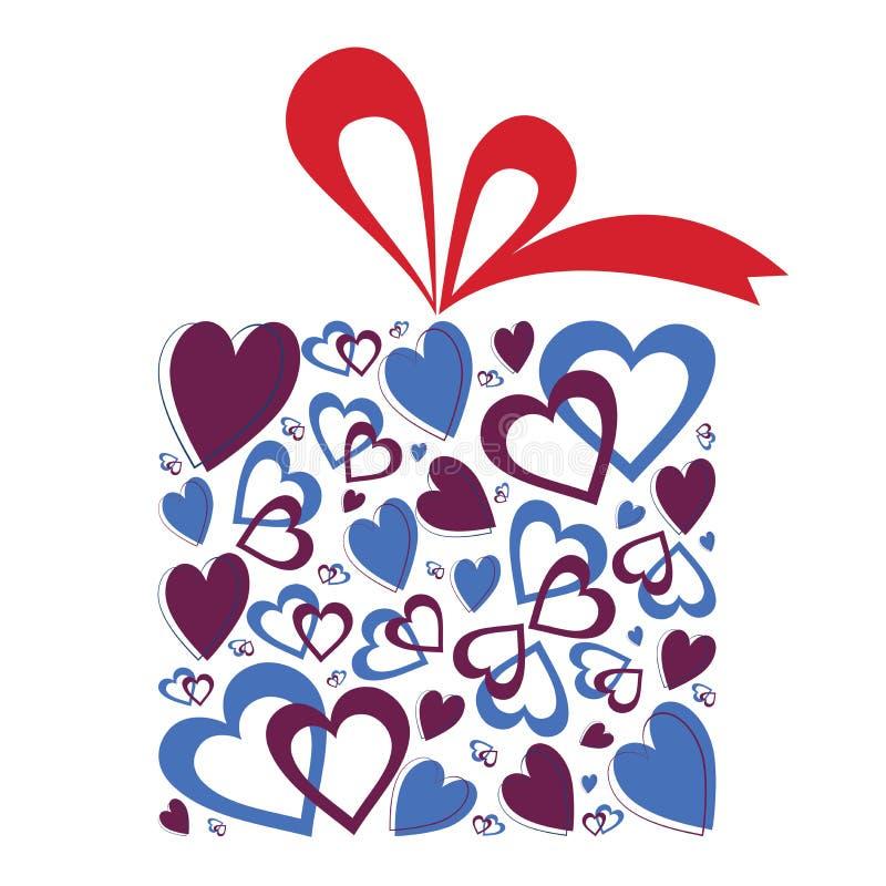 Presente dos corações do Valentim ilustração royalty free