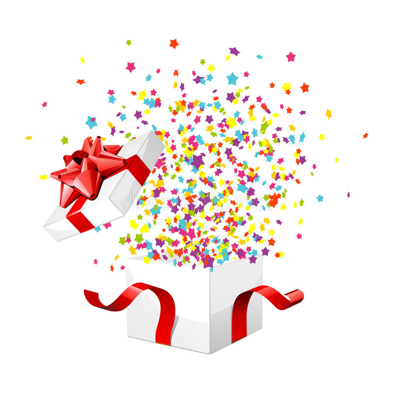 Presente e confetti fotografia de stock royalty free