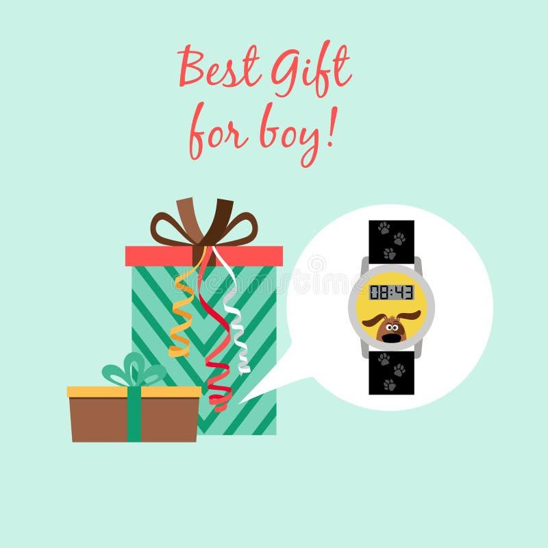 Presente engraçado do relógio digital para o menino ilustração royalty free