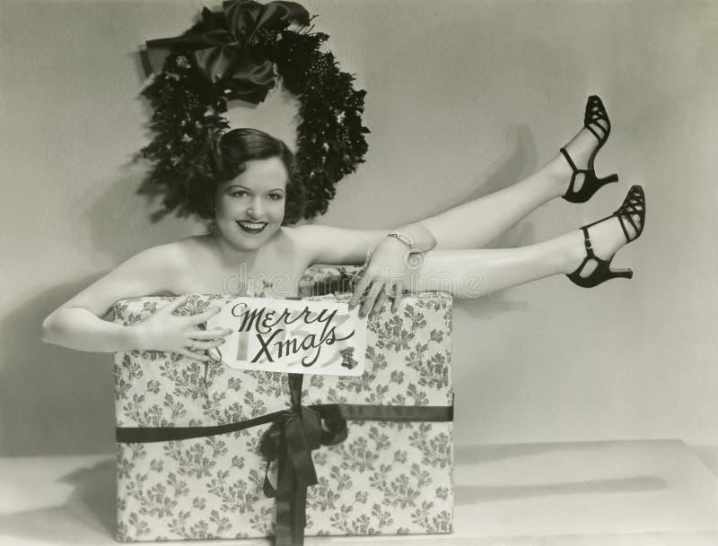 Presente envolvido para o Natal imagens de stock