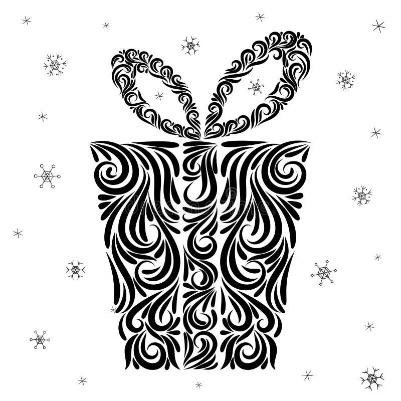 Presente estilizado tirado por uma linha preta sob a forma de um ornamento Natal Ano novo ilustração do vetor