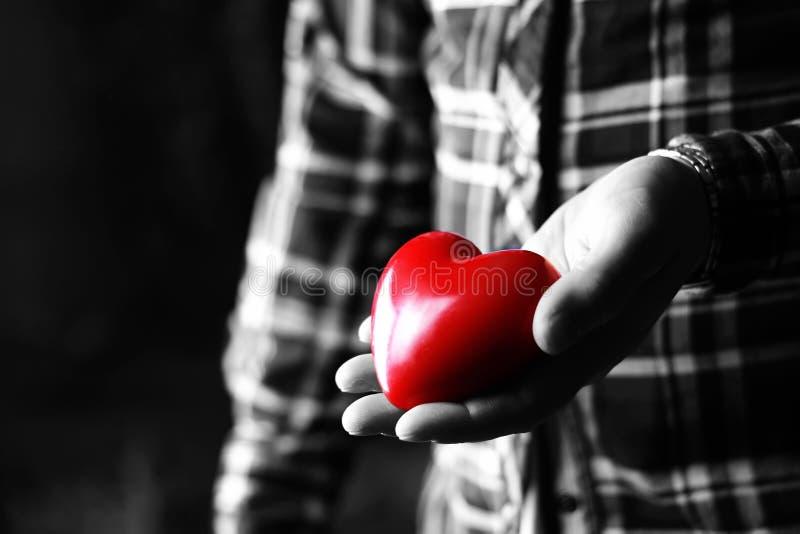 Presente masculino do coração do Valentim da mão imagem de stock royalty free