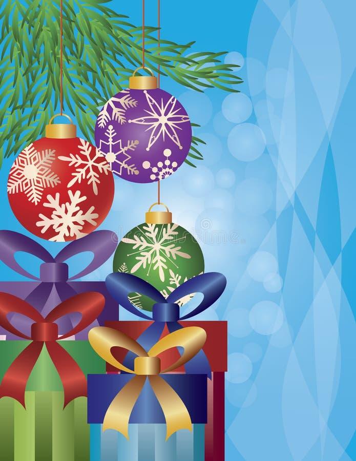Presente nell'ambito dell'illustrazione dell'albero di Natale illustrazione vettoriale