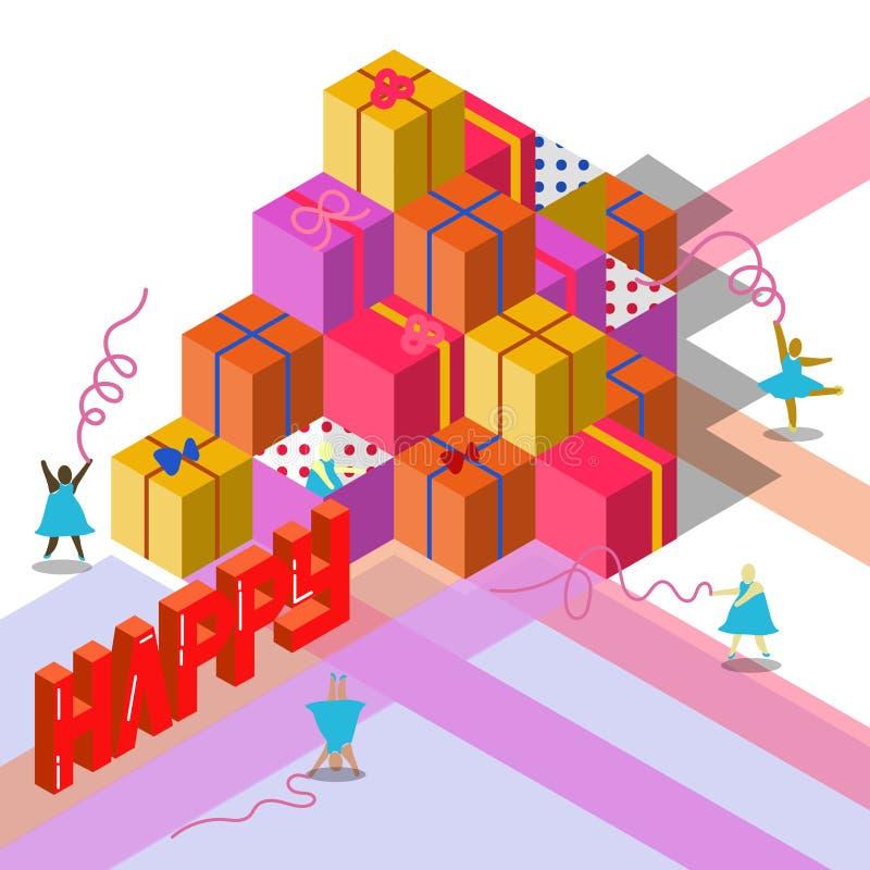 Presente para el evento feliz y la danza de la cinta foto de archivo libre de regalías